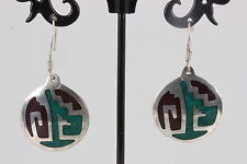 ALPACA MEXICO GREEN SPARKLE & BLACK ONYX STONE SOUTHWESTERN EARRING FASHION 8871