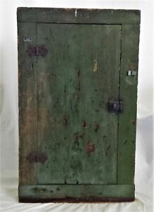 1800s antique early WOOD CABINET 28x17 green paint signed HMP handmade aafa PRIM