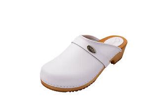 Ella Cuir V/éritable pour Femme Sabots de Bois Mules Blanc Chaussures en Bois