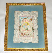 "Framed Blue Velvet Antique Victorian Paper Lace 8"" Valentine Card Forget Me Not"