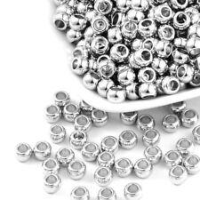 200pcs Platinum Tone Acrylic Beads Round Smooth Loose Spacers Large Hole 5x7mm