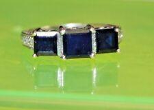 AI1 ELEGANT 14k WHITE Gold 3 Stone BLUE SAPPHIRE DIAMOND RING 0.40tcw size 7.25