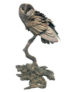 """Solid Bronze Barn Owl """"Night Owl"""" Foundry Cast Sculpture by Michael Simpson"""