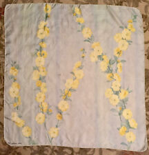 """Vintage Guy LaRoche Scarf 30"""" x 30"""", pale blue with yellow flowers"""