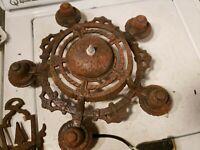 Antique 5 light Cast Iron Chandelier medieval spanish revival