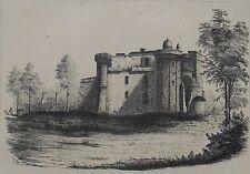 Lithographie Originale XIXème - Château de Lamarque - Médoc - Eugène Joubert