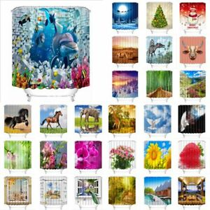 28 Pattern Bathroom Polyester Waterproof Shower Curtain Snow Horse Flower Scenic