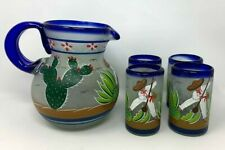 Agave Cutter Mexican Glasses Pitcher & Set Hand Blown Hand Painted Cobalt Blue