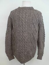 Kelly Knitwear Irish Style Cable 100% Wool Sweater Pullover Light Brown Mens