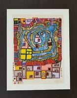 Friedensreich Hundertwasser End Of Waters On The Roof  Mounted offset Litho 1986