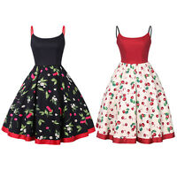 50's 60's Vintage Hepburn Style Rockabilly Cherry Pinup Party Retro Swing Dress