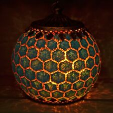 Moroccan Style Blue Geometric Patterned Glass LED Lantern Home Decor Lamps 24427