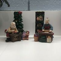 Vintage Pair of Christmas Mr. & Mrs. Santa Claus Candle Holders