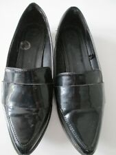 NEW LOOK - BLACK PATENT LEATHER SLIP ON SHOES  size 3 uk 36 euro