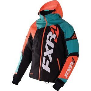 FXR MENS REVO X COLD WEATHER SNOW JACKET COAT -Black / Teal / Orange - Size XL
