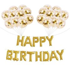 16''Golden Mylar Happy Birthday Balloons and 20 Gold Confetti Balloons