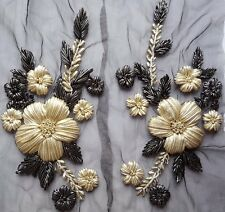Pair Large Handmade Gold Sliver Floral Ribbon Embroidery Applique Motif EB0271