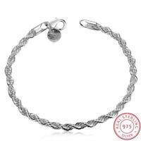 925 Sterling Silber Armband 4mm Twist Seil Kette Armreif Männer Frauen Geschenk.