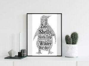 Personalised A4 Word Art Penguin Animal Gift Winter Photo Picture Print Image