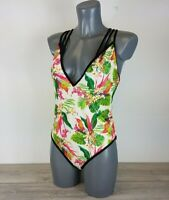 ASOS Photographic Tropical Print Contrast Swimsuit Multi UK 16 A222-23