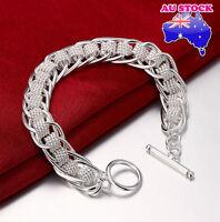 WholeSale 1.2CM 925 Sterling Silver Filled Weave Bracelet Chain Link Bangle