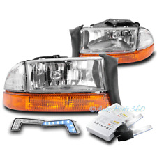97-04 DODGE DAKOTA/98-03 DURANGO HEAD LIGHT LAMP+AMBER BUMPER W/BLUE DRL LED+HID