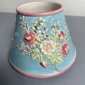 Vintage Yankee Candle Large Jar Shade Blue Pink Rose Shabby Floral Country