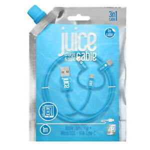 Juice 3 in 1 Cable USB C Lightning 1m Charger Lead Micro Type Blue 3 Amp Fast