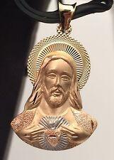 Religious 14k yellow  White Rose Gold Jesus Face  Charm Pendant Diamond Cut