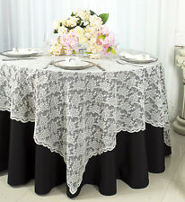 "Wedding Linens Inc. 54"" Square Lace Table Overlays Toppers Tablecloths Linens"