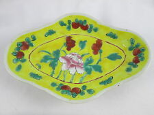Vintage Chinese Yellow Porcelain Famille Rose Low Footed Bowl China