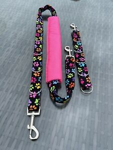 2 Pc Dog grooming Restraint / belly strap & extender set / Neon Paw Print