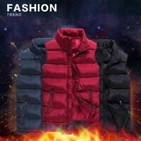 Mens Winter Warm Zipper Down Jacket Vest Coat Lightweight Puffy Overcoat Outwear