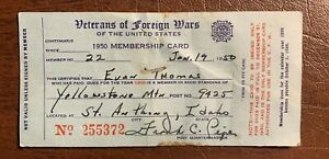 1950 Yellowstone Mtn. VFW Card  St. Anthony Id. Near Idaho Falls