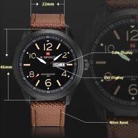 NAVIFORCE Mens Casual Nylon Stainless Calendar Fashion Waterproof Quartz Watches