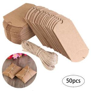 50Pcs Gift Box Kraft Paper Cookie Packaging Envelope Biscuit Storage Brown Bags