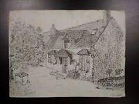 Beau dessin années 40 signé paysage avec ferme Normandie ? dessin plume encre