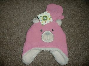 Little Me Pink Bear Winter Hat Mittens Set Toddler Girls Size 2T 3T 4T 2-4 NWT