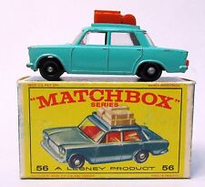 Matchbox #56 FIAT 1500 excellent with TYPE E box SEA GREEN Light Brown luggage