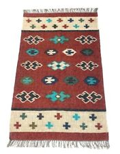 Handwoven Floor Kilim Rugs 3x5 Jute Area Rug Hand loomed Rustic Rugs Indian Art7