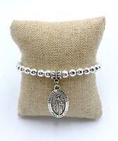 Pulsera San Judas Tadeo Patron de lo imposible plateada mujer elastica amuleto