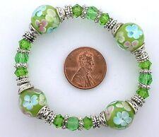 Pewter Stretch Bracelet ms41 Green Floral Flower Lampwork Glass