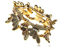 Gold Tone Light Siam Crystal Rhinestone Butterfly Insect Bracelet Bangle Cuff