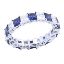 Princess  Diamond & Sapphire Eternity Band Ring 14k Gold Over Sterling Silver