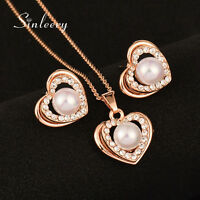 Women Wedding Jewelry Pearl Heart Necklace And Earrings Set 18K Rose Gold Tz462