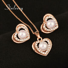 Women Wedding Jewelry Pearl Heart Necklace And Earrings Set 18K Rose Gold Tz462