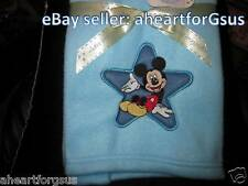 NEW DISNEY BABY BLANKET MICKEY MOUSE STAR BLUE FLEECE EMBROIDERY BOY SWADDLE