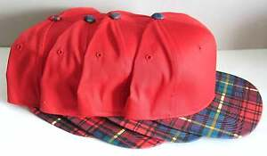 4 Red Plaid Baseball Caps Plastic Size Adjustable 60/40 blend NEW FREE SH