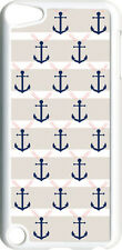 Light Gray and Navy Blue Anchor on iPod Touch 5th Gen 5G White TPU Case Cover