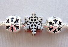 Set 3 pcs charms beads CHRISTMAS Snowflakes Fit for European style bracelet C11